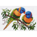 Попугаи на ветке, канва с рисунком для вышивки нитками 24х35см. Матрёнин посад