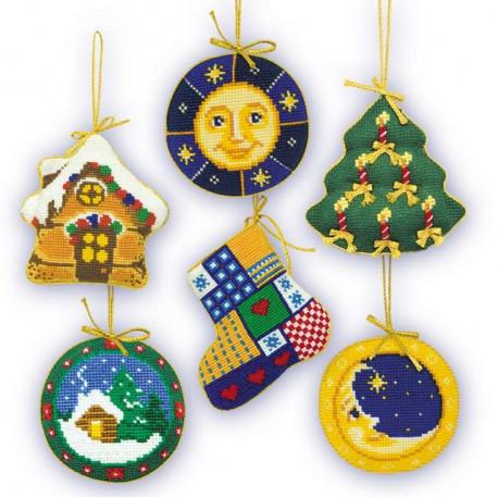 Новогодние игрушки 6шт, набор для рукоделия, 9х9см, нитки 12цветов Риолис