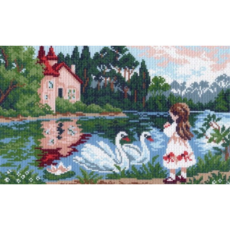 У озера, канва с рисунком для вышивки нитками 24х35см. Матрёнин посад