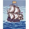 Парусник в море, канва с рисунком для вышивки нитками 24х30см. Матрёнин посад