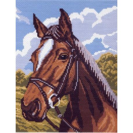 Лошадь, канва с рисунком для вышивки нитками 24х30см. Матрёнин посад