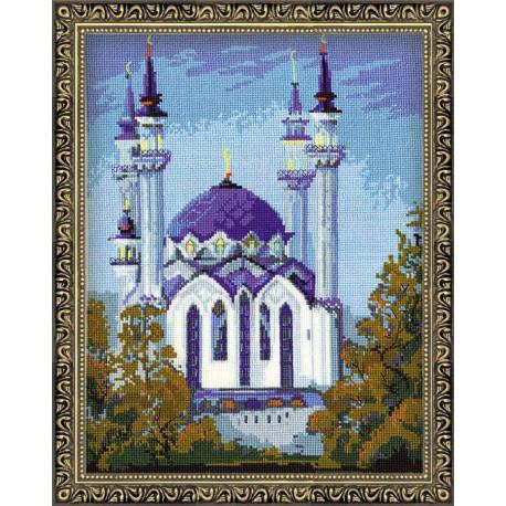 Мечеть Кул Шариф в Казани, набор для вышивания крестиком, 34х44см, нитки шерсть Safil 18цветов Риоли