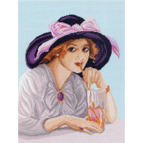 Девушка в шляпке, канва с рисунком для вышивки нитками 33х45см. Матрёнин посад