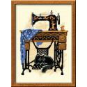 Швейная машинка, набор для вышивания крестиком, 18х24см, нитки шерсть Safil 9цветов Риолис