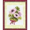 Анемоны, набор для вышивания крестиком, 13х16см, нитки шерсть Safil 9цветов Риолис