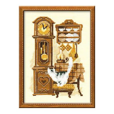 Часы, набор для вышивания крестиком, 18х24см, нитки шерсть Safil 9цветов Риолис