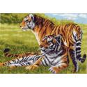 Тигры, канва с рисунком для вышивки нитками 37х49см. Матрёнин посад