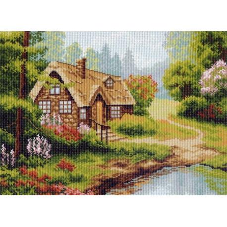 Домик у озера, канва с рисунком для вышивки нитками 37х49см. Матрёнин посад
