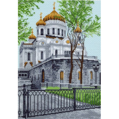 Храм Христа Спасителя, канва с рисунком для вышивки нитками 33х45см. Матрёнин посад
