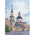 Церковь в городе, канва с рисунком для вышивки нитками 33х45см. Матрёнин посад