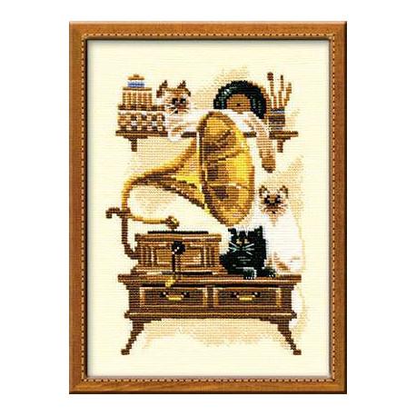 Патефон, набор для вышивания крестиком, 18х24см, нитки шерсть Safil 10цветов Риолис