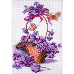 Корзина с цветами, канва с рисунком для вышивки нитками 28х37см. Матрёнин посад