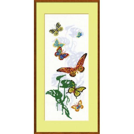Экзотические бабочки, набор для вышивания крестиком, 22х50см, нитки шерсть Safil 18цветов Риолис