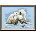 Белые медведи, набор для вышивания крестиком, 60х40см, нитки шерсть Safil 13цветов Риолис