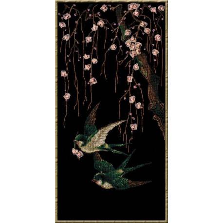 Ласточки, набор для вышивания крестиком, 30х60см, мулине хлопок Anchor 14цветов Риолис