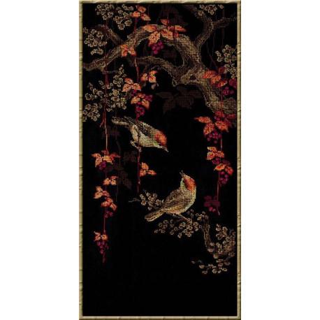Райские птички, набор для вышивания крестиком, 30х60см, мулине хлопок Anchor 15цветов Риолис