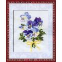 Анютины глазки, набор для вышивания крестиком, 13х16см, нитки шерсть Safil 10цветов Риолис