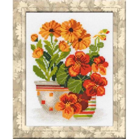 Настурции и ноготки, набор для вышивания крестиком, 20х26см, нитки шерсть Safil 12цветов Риолис