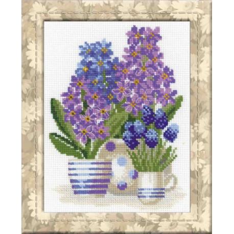 Гиацинты, набор для вышивания крестиком, 20х26см, нитки шерсть Safil 14цветов Риолис