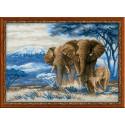 Слоны в саванне, набор для вышивания крестиком, 40х30см, нитки шерсть Safil 20цветов Риолис