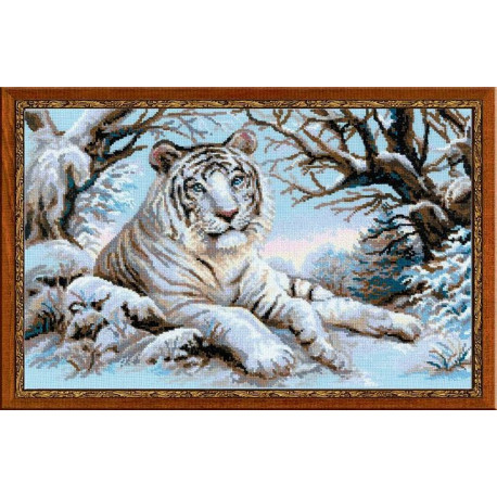 Бенгальский тигр, набор для вышивания крестиком, 60х40см, нитки шерсть Safil 17цветов Риолис