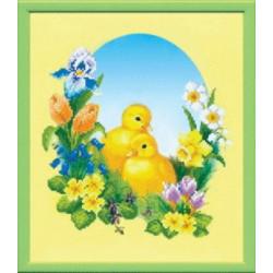 Цыплята, ткань с рисунком для бисера,Чарiвна Мить 23x27 см
