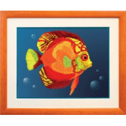 Золотая рыбка, ткань с рисунком для бисера,Чарiвна Мить 30x23 см