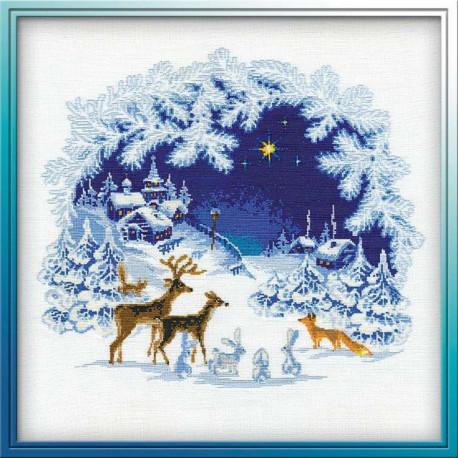 Рождество, набор для вышивания крестиком, 45х45см, нитки шерсть Safil 13цветов Риолис