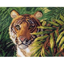 Тигр в джунглях, канва с рисунком для вышивки нитками 28х34см. Матрёнин посад