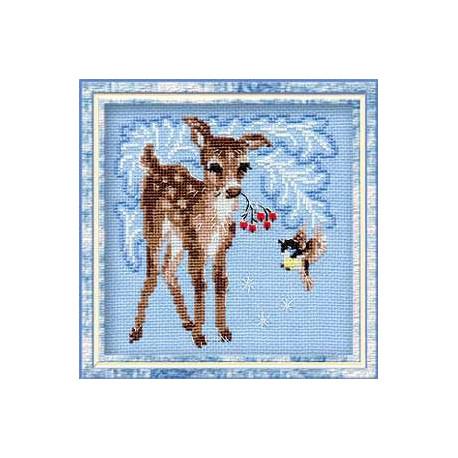 Оленёнок, набор для вышивания крестиком, 15х15см, нитки шерсть Safil 9цветов Риолис
