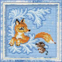 Лисёнок, набор для вышивания крестиком, 15х15см, нитки шерсть Safil 8цветов Риолис