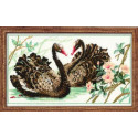 Черные лебеди, набор для вышивания крестиком 40х24см нитки шерсть Safil 17цветов Риолис