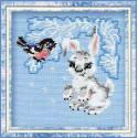 Зайчонок, набор для вышивания крестиком, 15х15см, нитки шерсть Safil 9цветов Риолис