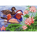 Мандариновые утки, канва с рисунком для вышивки нитками 37х49см. Матрёнин посад