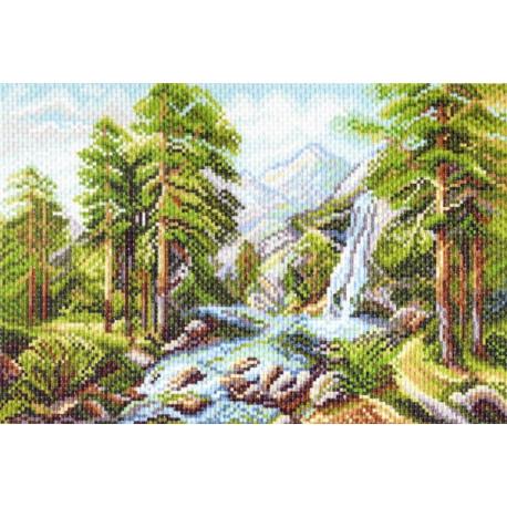 Горный пейзаж, канва с рисунком для вышивки нитками 28х37см. Матрёнин посад