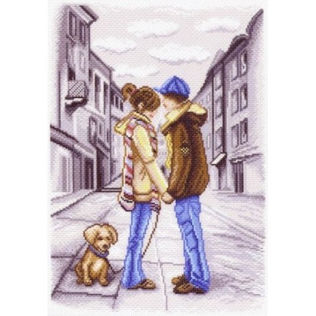 Первое свидание, канва с рисунком для вышивки нитками 33х45см. Матрёнин посад