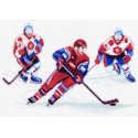 Хоккей, канва с рисунком для вышивки нитками 24х35см. Матрёнин посад