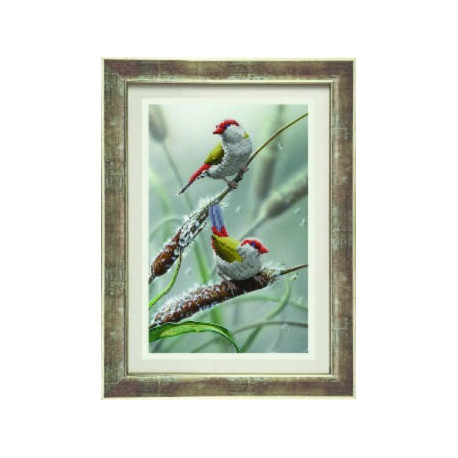 Птички, ткань с рисунком для бисера,Чарiвна Мить 20x31 см