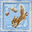 Бельчонок, набор для вышивания крестиком, 15х15см, нитки шерсть Safil 7цветов Риолис