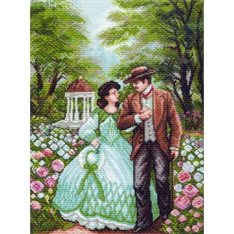 Прогулка в парке, канва с рисунком для вышивки нитками 33х45см. Матрёнин посад