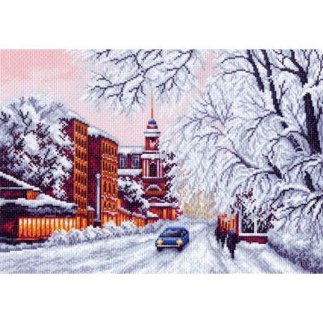 Зимний город, канва с рисунком для вышивки нитками 33х45см. Матрёнин посад