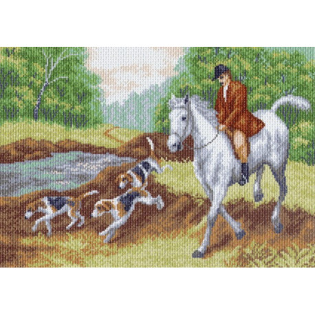 Охотник, канва с рисунком для вышивки нитками 33х45см. Матрёнин посад