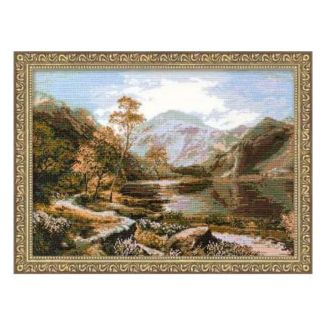 Озеро Лох-Ломонд, набор для вышивания крестиком, 58х40см, нитки шерсть Safil 20цветов Риолис