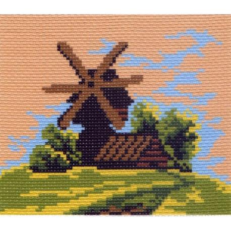 Мельница, канва с рисунком для вышивки нитками 16х20см. Матрёнин посад