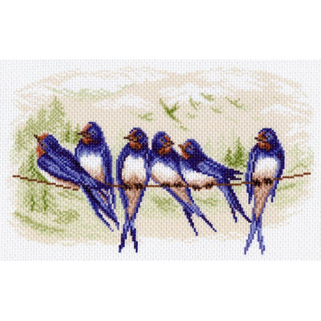 Ласточки, канва с рисунком для вышивки нитками 24х35см. Матрёнин посад