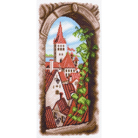 Вид из окна, канва с рисунком для вышивки нитками 24х47см. Матрёнин посад
