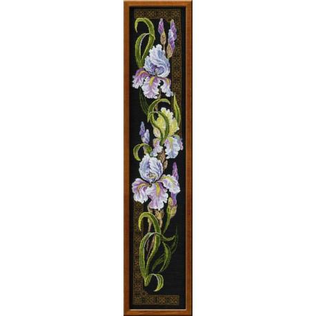 Ирисы, набор для вышивания крестиком, 20х92см, нитки шерсть Safil 11цветов Риолис