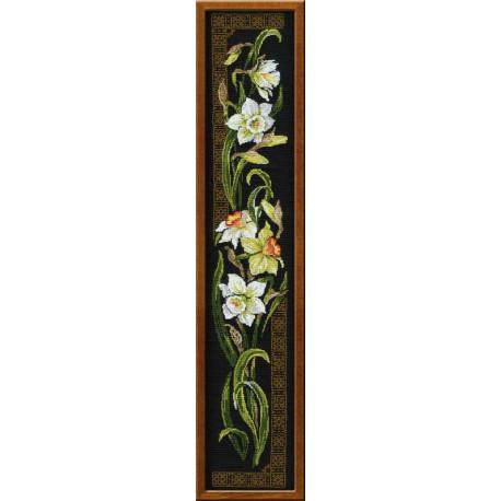 Нарциссы, набор для вышивания крестиком 20х92см нитки шерсть Safil 14цветов Риолис