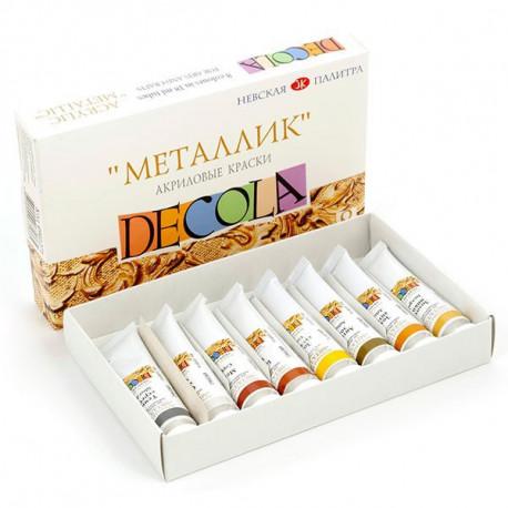 Набор акриловых красок металлик 8х18мл Decola +t!