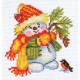 Снеговичок, набор для вышивания крестиком, 10х10см, 13цветов Алиса